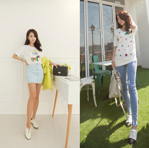 áo thun free size in hoạ tiết