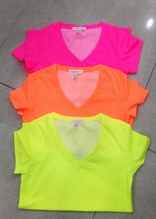 Áo thun trơn màu neon